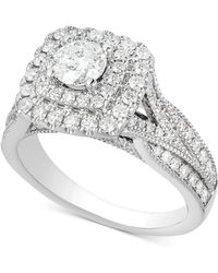 Macy's - Diamond Elevated Halo Engagement Ring (1-1/2 Ct. T.w.) In 14k White Gold - Lyst