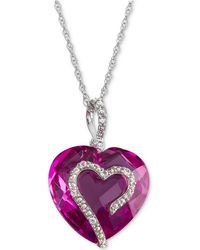 Macy's - Lab-created Ruby (9 Ct. T.w.) & White Sapphire Accent Heart Pendant Necklace In Sterling Silver - Lyst