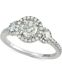 Macy's - Diamond Triple Halo Engagement Ring (1-5/8 Ct. T.w.) In 14k White Gold - Lyst