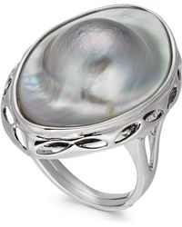 Macy's - Mabé Blister Pearl (18 X 28mm) Statement Ring In Sterling Silver - Lyst