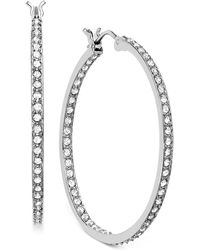 Swarovski - Earring, Rhodium-plated Crystal Somerset Hoop Earrings - Lyst