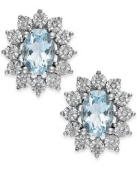 Macy's - Aquamarine (1-1/3 Ct. T.w.) And Diamond Accent Stud Earrings In 14k White Gold - Lyst