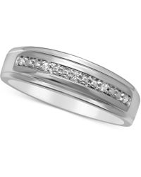 Macy's | Men's Diamond Accent Wedding Band In 14k White Gold | Lyst