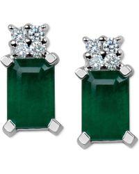 Macy's - Emerald (1-1/5 Ct. T.w.) & Diamond Accent Stud Earrings In 14k White Gold - Lyst