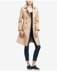 DKNY - Belted Ruffle-sleeve Trenchcoat - Lyst