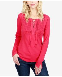 Lucky Brand - Cotton Lace-up Thermal Top - Lyst