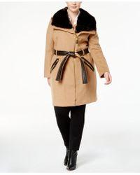 Via Spiga - Plus Size Mixed-media Asymmetrical Coat - Lyst