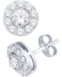 Macy's - Diamond Round Halo Stud Earrings In 14k White Gold (1 Ct. T.w.) - Lyst