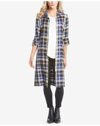 Karen Kane - Plaid Print Convertible Belted Midi Length Shirt Dress - Lyst
