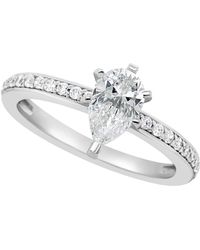 Macy's - Certified Pear Shape Diamond Engagement Ring (1 Ct. T.w.) In Platinum - Lyst