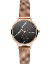 Skagen - Anita Rose Gold-tone Stainless Steel Mesh Bracelet Watch 34mm - Lyst