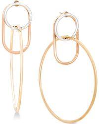Steve Madden - Two-tone Interlock Hoop Earrings - Lyst