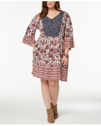Style & Co. - Plus Size Mixed-print Flutter-sleeve Peasant Dress, Created For Macy's - Lyst