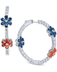 Joan Boyce - Flower Crystal Pavé Hoop Earrings - Lyst