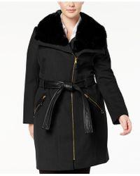 Via Spiga - Plus Size Belted Faux-fur-collar Walker Coat - Lyst