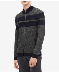 Calvin Klein - Textured Stripe Full-zip Cardigan - Lyst