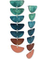 Robert Lee Morris - Silver-tone Mixed Patina Geometric Half-moon Linear Drop Earrings - Lyst