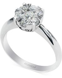 Effy Collection - Diamond Halo Ring In 14k White Gold (3/5 Ct. T.w.) - Lyst