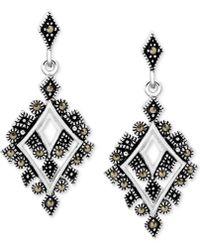Macy's - Marcasite Geometric Drop Earrings In Fine Silver-plate - Lyst