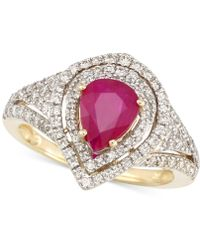 Rare Featuring Gemfields | Certified Ruby (5/6 Ct. T.w.) And Diamond (2/3 Ct. T.w.) Ring In 14k Gold | Lyst