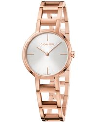 58a9f330cf0 Calvin Klein - Swiss Cheers Pink Gold-tone Pvd Stainless Steel Bracelet  Watch 32mm -
