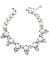 Charter Club - Silver-tone Crystal & Imitation Pearl Statement Necklace - Lyst