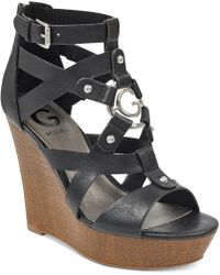 G by Guess - Dodge Platform Wedge Sandals - Lyst