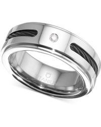 Macy's - Diamond Accent Cable Band In Titanium And Black Ion-plate - Lyst