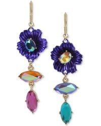 Betsey Johnson - Two-tone Stone Flower Mismatch Drop Earrings - Lyst