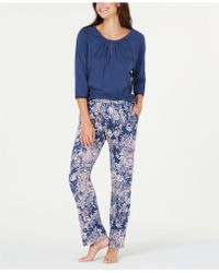 Sesoire - Jersey Knit 3/4-sleeve Top And Pyjama Trousers Set - Lyst