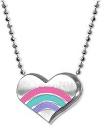 """Alex Woo - Enamel Rainbow Heart 16"""" Pendant Necklace In Sterling Silver - Lyst"""