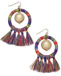 "INC International Concepts - I.n.c. Extra Large 3"" Gold-tone Ball & Tassel Wrapped Drop Hoop Earrings, Created For Macy's - Lyst"