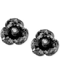 Betsey Johnson - Black Crystal Stud Earrings - Lyst