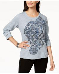 Style & Co. - Long-sleeve Metallic-graphic Sweatshirt - Lyst