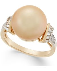 Macy's - Cultured Golden South Sea Pearl (12mm) And Diamond (1/4 Ct. T.w.) Ring In 14k Gold - Lyst