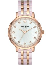 Kate Spade - Women's Monterey Rose Gold-tone Stainless Steel And Blush Pink Acetate Bracelet Watch 38mm Ksw1264 - Lyst