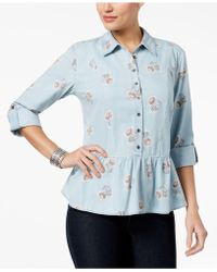 Style & Co. - Petite Floral-print Peplum Shirt - Lyst