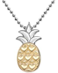 """Alex Woo - Pineapple 16"""" Pendant Necklace In Sterling Silver & 18k Gold - Lyst"""