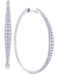 Macy's - Diamond Graduated Hoop Earrings (1 Ct. T.w.) In 14k White Gold - Lyst