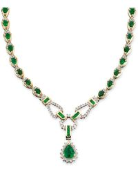 Macy's - Sapphire (12-1/3 Ct. T.w.) And Diamond (1-1/5 Ct. T.w.)toggle Necklace In 14k White Gold (also In Ruby & Emerald) - Lyst