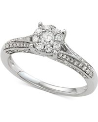 Macy's - Diamond Cluster Engagement Ring (1/2 Ct. T.w.) In 14k White Gold - Lyst