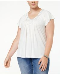Soprano - Plus Size Top, Short Sleeve Embellished V-neck - Lyst