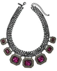 "INC International Concepts - I.n.c. Hematite-tone Multi-crystal Statement Necklace, 18"" + 3"" Extender, Created For Macy's - Lyst"