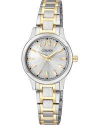 Citizen - Women's Two-tone Stainless Steel Bracelet Watch 25mm El3034-58a - Lyst