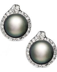 Macy's - 14k White Gold Earrings, Cultured Tahitian Pearl (11mm) And Diamond (3/4 Ct. T.w.) Stud Earrings - Lyst