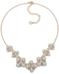 """Anne Klein - Gold-tone Crystal & Imitation Pearl Cluster Collar Necklace, 16"""" + 3"""" Extender - Lyst"""