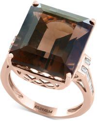 Effy Collection - Smoky Quartz (16-9/10 Ct. T.w.) & Diamond (1/5 Ct. T.w.) Ring In 14k Rose Gold - Lyst