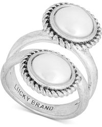 Lucky Brand - Silver-tone Imitation Pearl Double-row Ring - Lyst