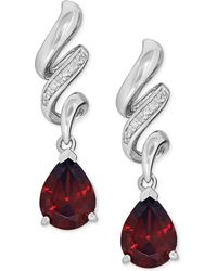 Macy's - Garnet (2-5/8 Ct. T.w.) And Diamond Accent Swirl Drop Earrings In Sterling Silver - Lyst