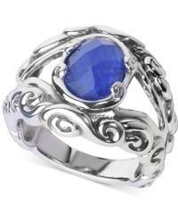 Carolyn Pollack | Lapis Lazuli/rock Quartz Openwork Statement Ring (3 Ct. T.w.) In Sterling Silver | Lyst